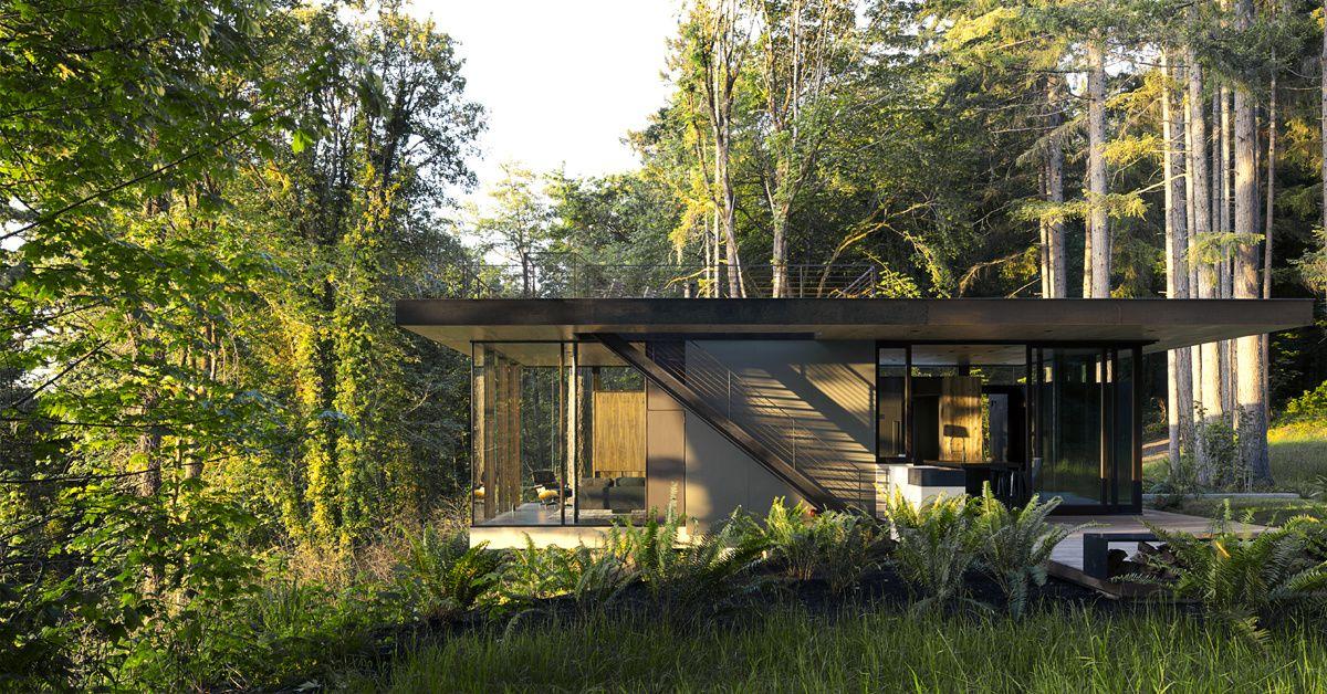 Une maison d\u0027architecte au coeur de la forêt de Seattle Business - plan d une maison simple