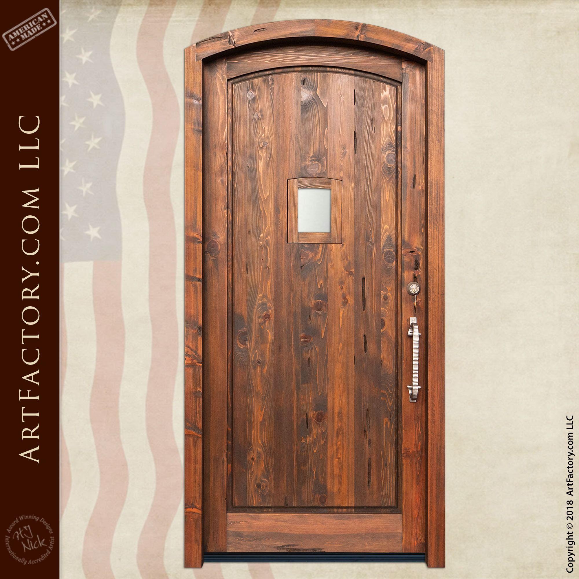 Rustic Wooden Portal Door With Custom Semi Arched Design Wooden