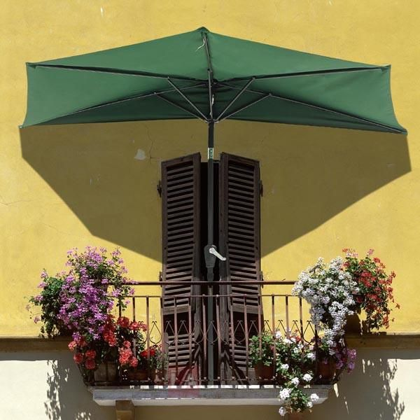 10 Ft Patio Half Umbrella Off The Wall Tilt Beige Green Terassenideen Sonnenschirm Rechteckig Terrassenwand