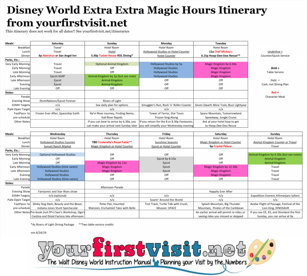 Disney World Itinerary For The Extra Extra Magic Hours Period Yourfirstvisit Net Disney World Disney World Hours Magic Hour