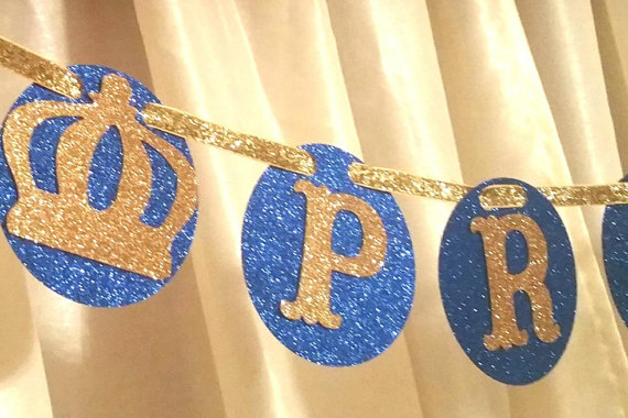 Royal Little Prince blue & gold crown banner birthday party gender ...