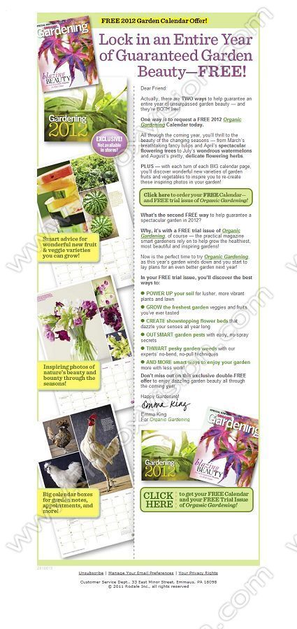 Company Organic Gardening Subject Garden Special Free Calendar And Free Trial Issue I Email Design Email Newsletter Template Newsletter Templates