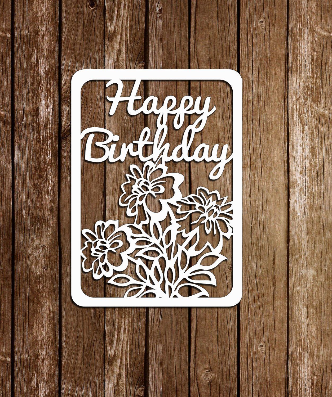 Papercut Card Birthday Template Paper Cutting Pdf Svg File