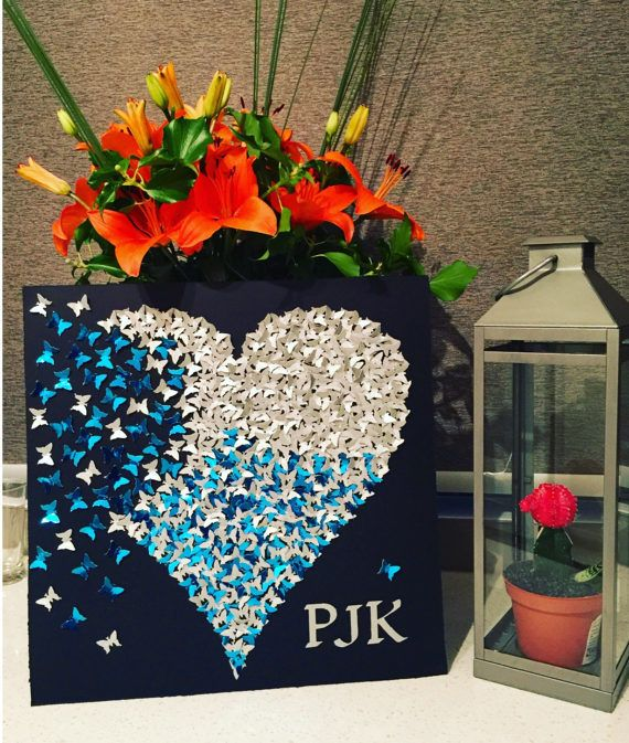 Corazón de mariposa 3D arte de papel de plata azul   arte de la ...