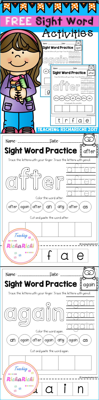 Free Sight Word Activities First Grade Teaching