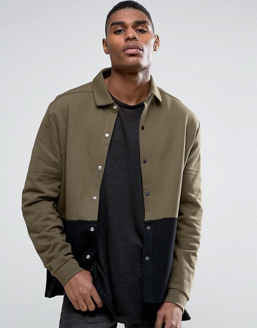 ASOS Oversized Jersey Harrington Jacket With Cut & Sew And Snaps  $33.50