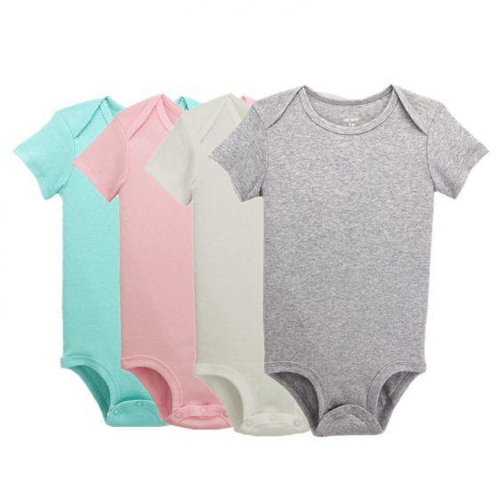 b5628ac2d 4-Pack Baby Girl Onesies/Bodysuits Short Sleeve 0-3-24 Months Plain Pink  Grey Green White