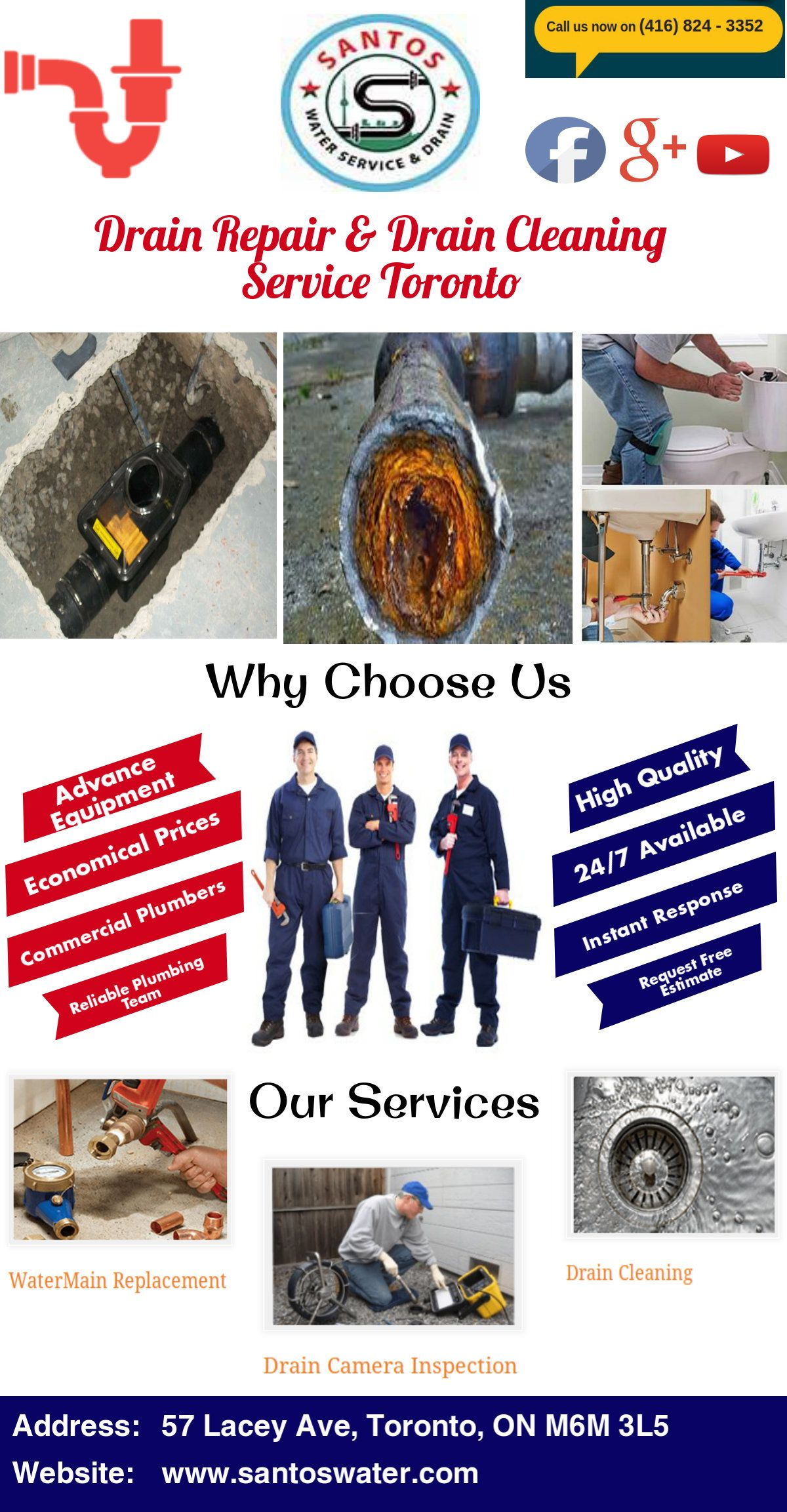 If you find out clogged and damaged drain near your