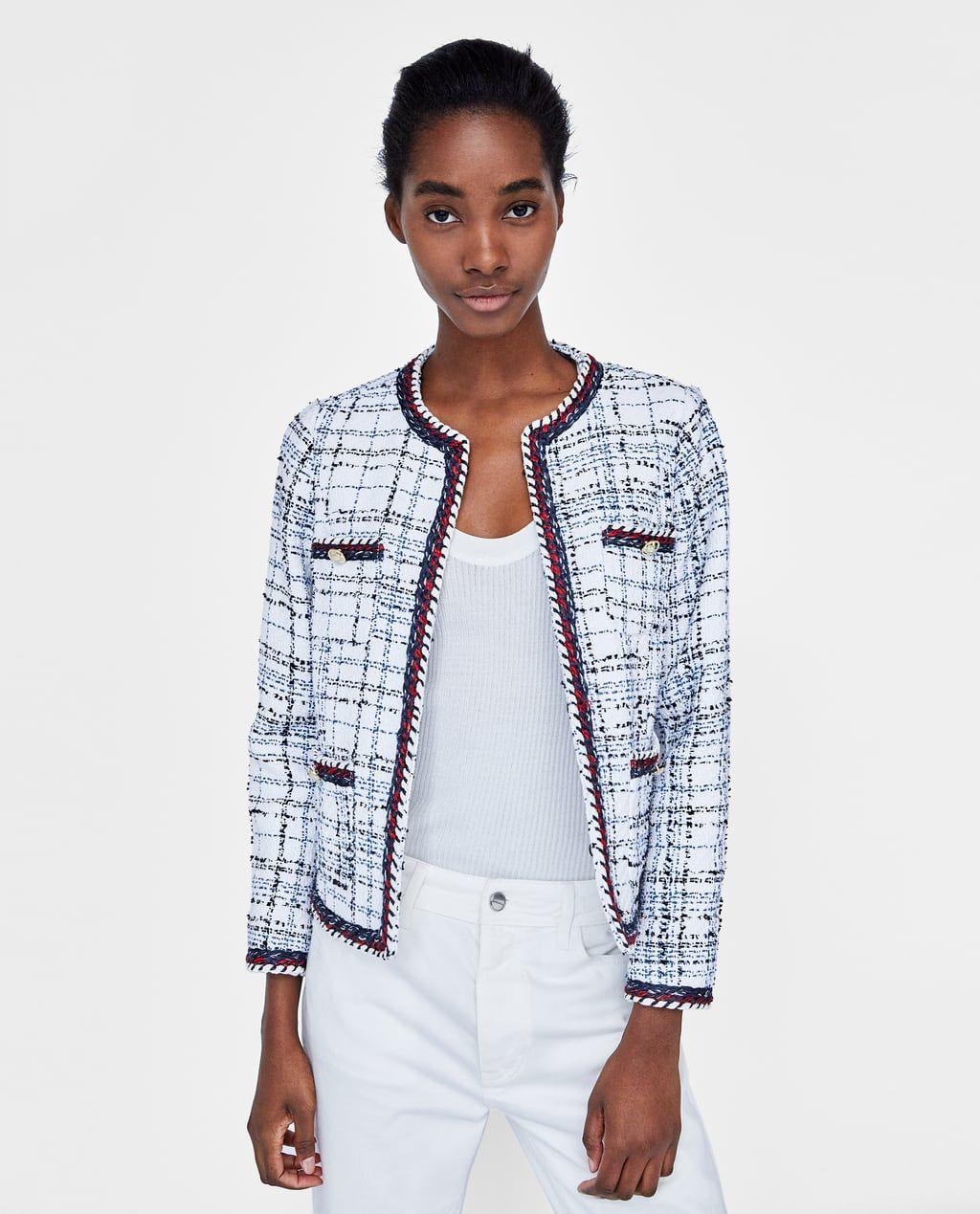 c220d5d3 Image 2 of SHORT TWEED BLAZER from Zara | ZARA 2018 | Chanel style ...