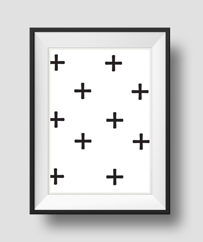 Swiss cross wall art black and white geometric art nursery wall