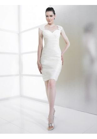 Sheath/Column Straps Taffeta Short Wedding Dress