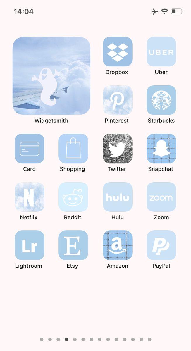 iOS 14 App Icons Sky Blue and Widgets