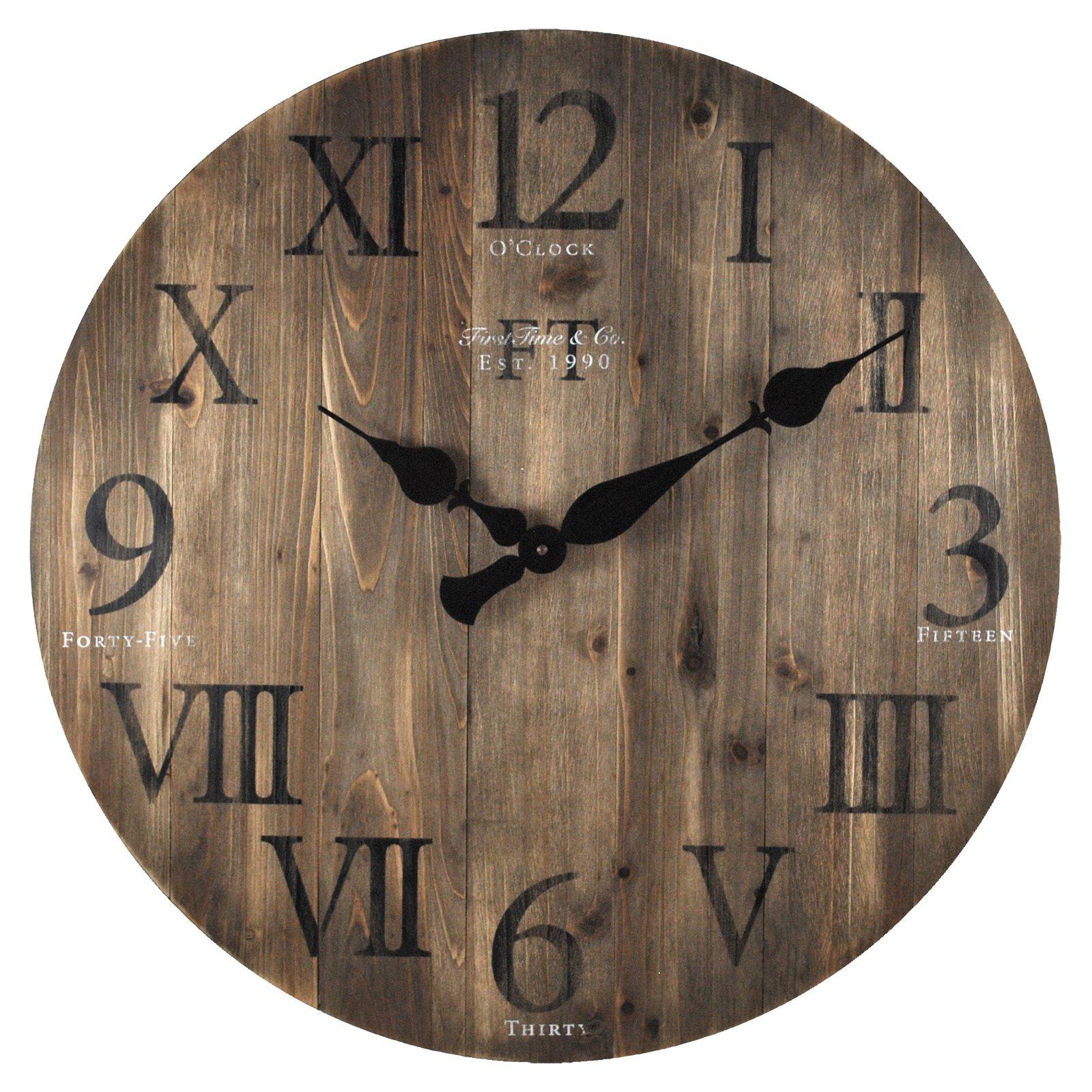 Firstime rustic barn wood 24 in wall clock wood wall