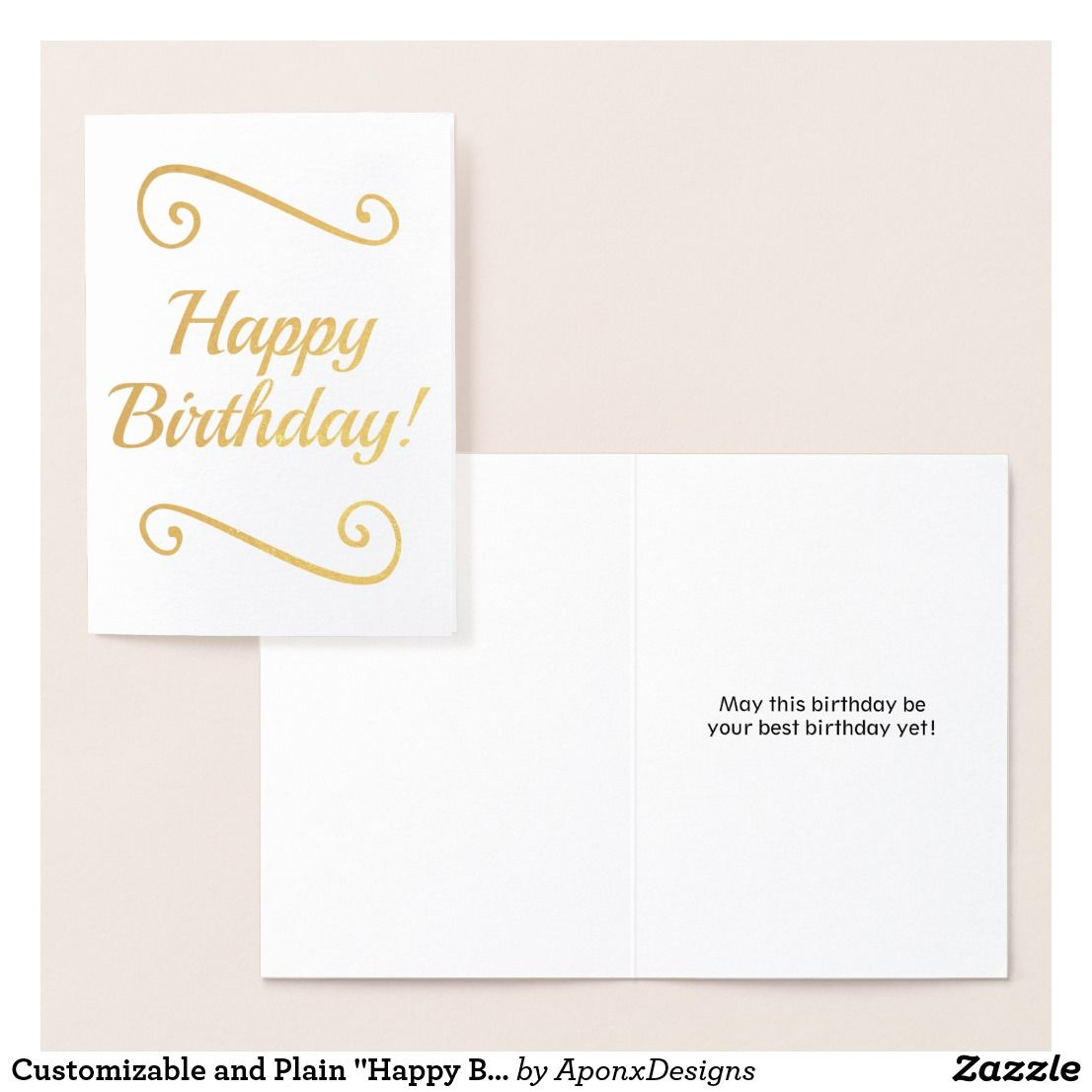 Customizable And Plain Happy Birthday Card