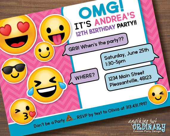 Printable Emoji Birthday Invitation Girls Por ABOcustomDesign