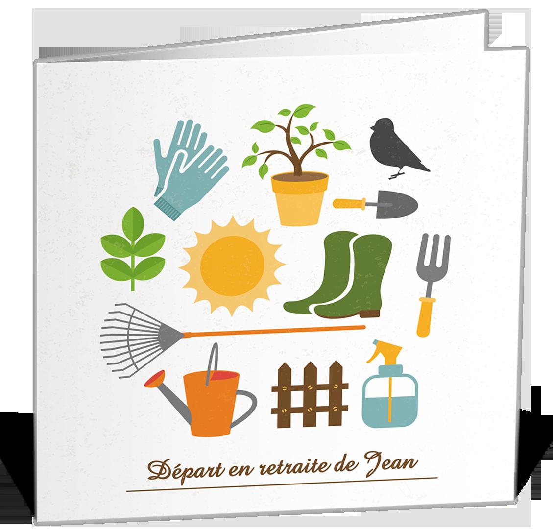Carte invitation d part la retraite sur le th me du for Heure de jardinage