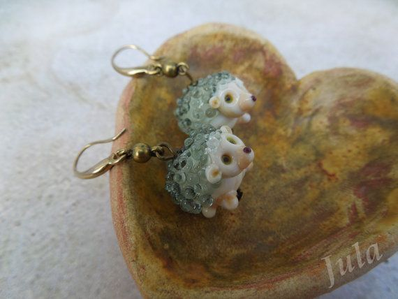 Hedgehog Earrings hedgehog Jewelry hedgehog от Julaglass на Etsy