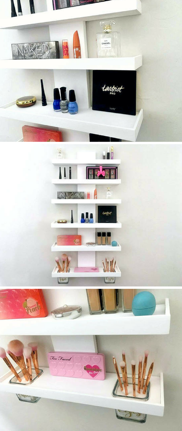 Organize Your Makeup And Beauty Essentials With This Sleek Stylish Wall Mounted Shelf Helps Stay Org Wall Storage Diy Wall Mounted Shelves Makeup Storage Wall