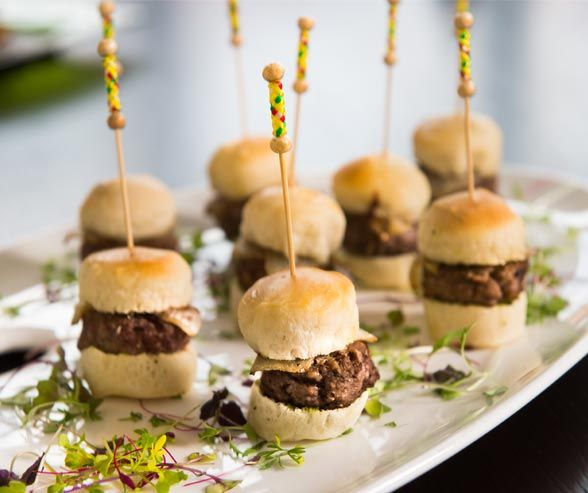 Fun Catering Ideas For Weddings: Skewered Lamb Sliders Are Fun And Familiar With A Creative