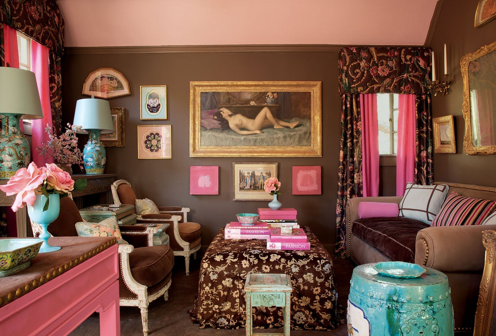 Love, love, love, the pink and brown, but never use it in my house ...