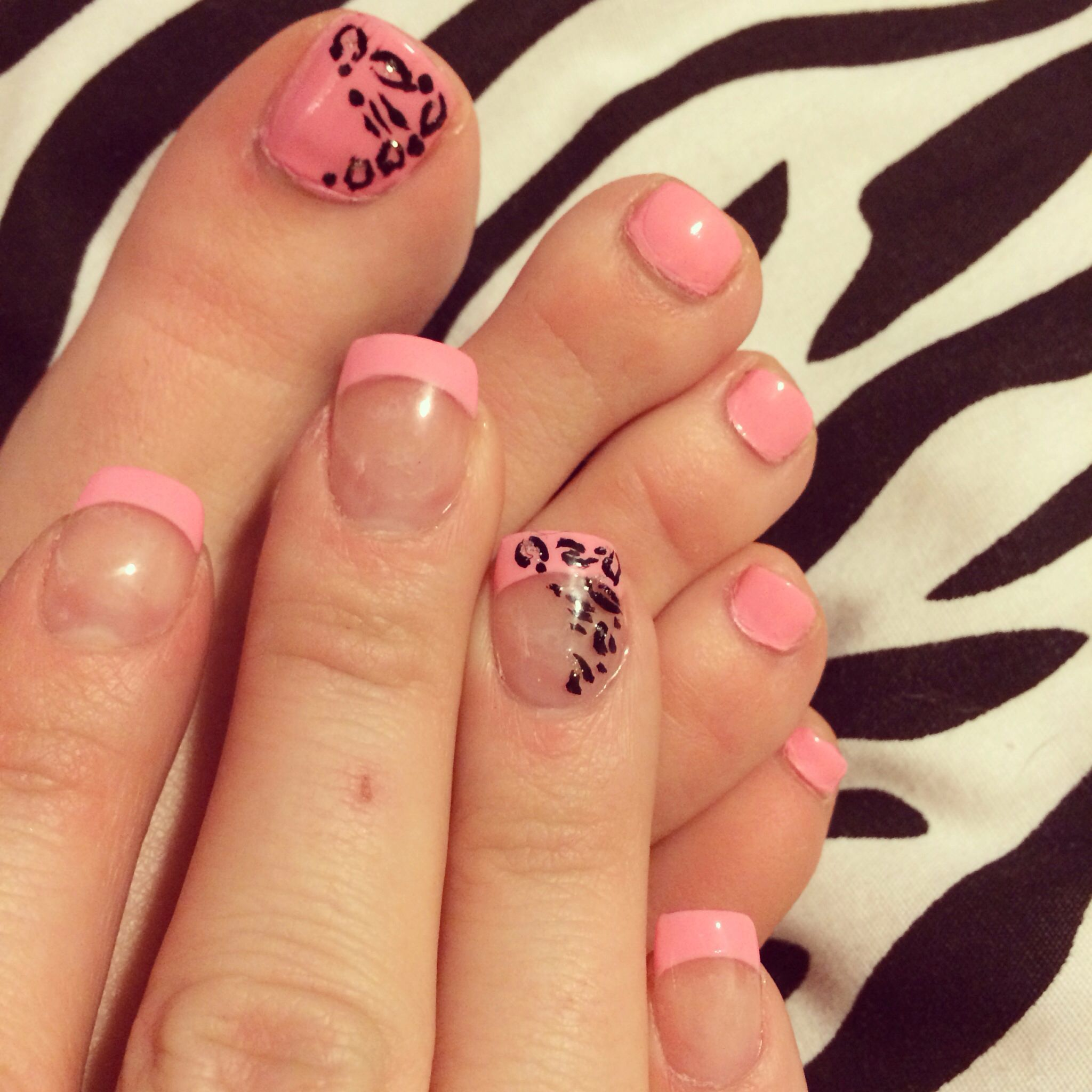 Pink French Tip Nails with Leopard design | Stuff to Try | Pinterest ...