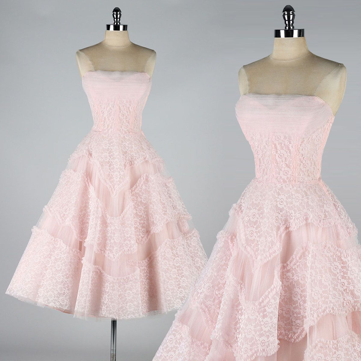 1950s lace dress  vintage s dress  EMMA DOMB  pink lace and tulle