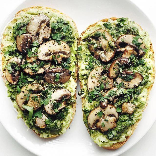 Basil Pesto and Mushrooms topped Avocado basil
