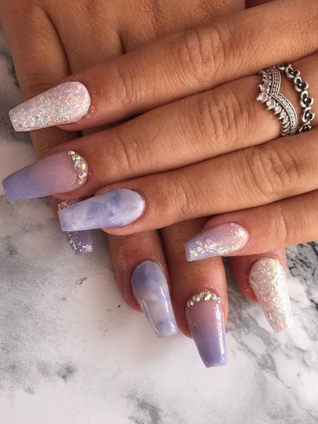 Beautiful Purple Ombre Coffin Nails With Glitter Purple Marble Coffin Nails And Glitter Coffin Nails Design In 2020 Ombre Nails Pink Ombre Nails Purple Ombre Nails