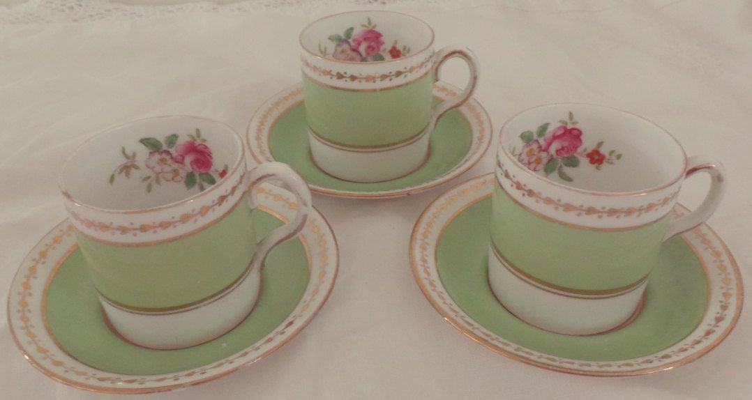 Very Green and Gold Floral Detail Bone China Coffee Set for 3, vintage espresso cups - afternoon tea, vintage by HannahsVintageHeaven on Etsy