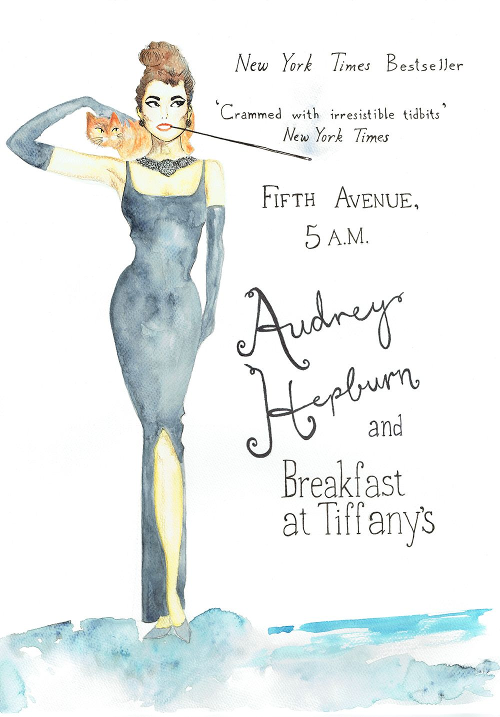 Illustrator: Emmelie Strand  Inspiration: Classic poster from the movie Breakfast at Tiffany´s with Audrey Hepburn Technique: Water colour and black inc