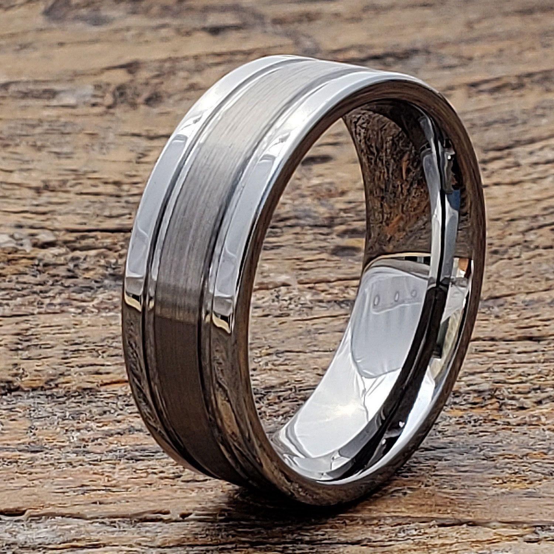 Tungsten Wedding Band Tungsten Ring Two Tone Tungsten Band Mens Wedding Ring Mens Tungsten Ring Custom Engraving Womens Tungsten Ring