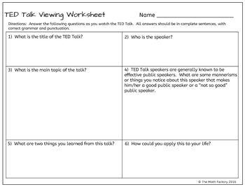 TED Talk Follow Along Viewing Worksheet | Homeschool | Pinterest