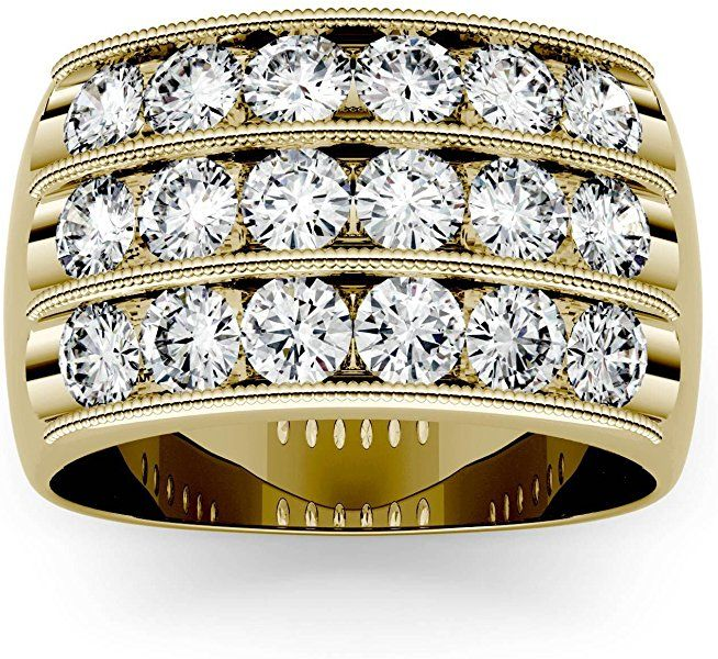 Forever One Moissanite Yellow Gold 3 Row