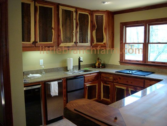 Rustic Kitchen Cabinets Are Crafted Using Many Different Species Of Wood.  Redwood, Black Walnut, Maple, Knotty Hickory, Knotty Alder, Eastern Red  Cedar, ...