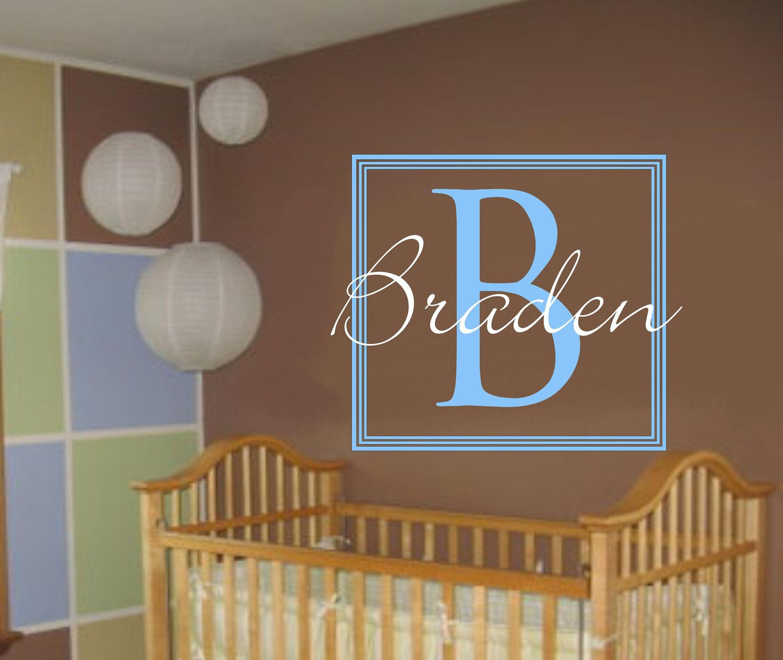 Baby Boy Monogram Wall Decal Nursery Name Decals Square Monogram - Monogram wall decal for nursery