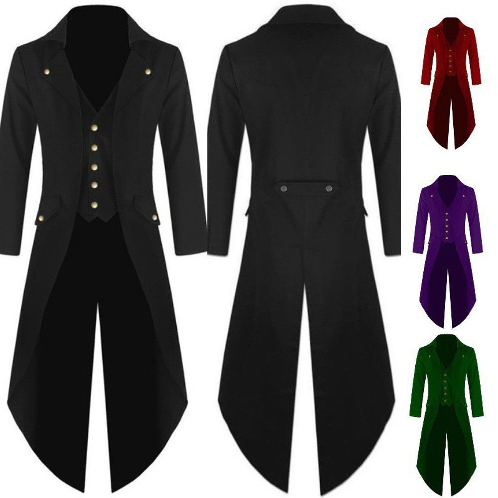 Newly Men Steampunk Tailcoat Multi Color Gothic Victorian Frock Coat ...