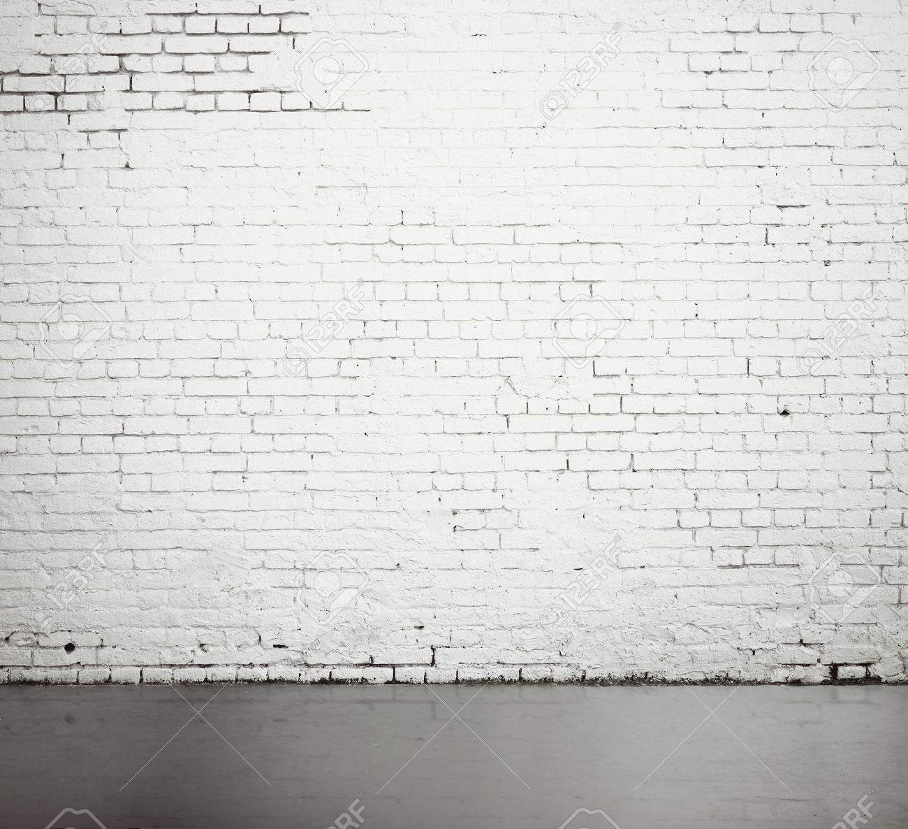 High Resolution White Brick Wall And Floor Brick Room Dark Wooden Floor White Brick Walls