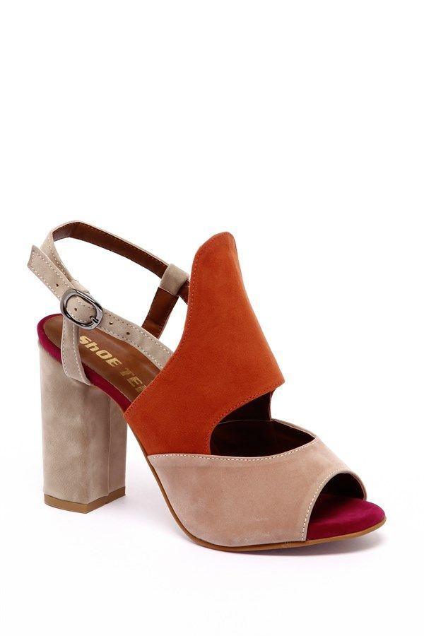 002-920 Pudra & Turuncu & Bej Süet Kalın Topuklu Ayakkabı