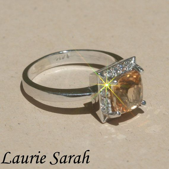 RARE Hessonite Garnet and Diamond Ring with by LaurieSarahDesigns, $1,684.50