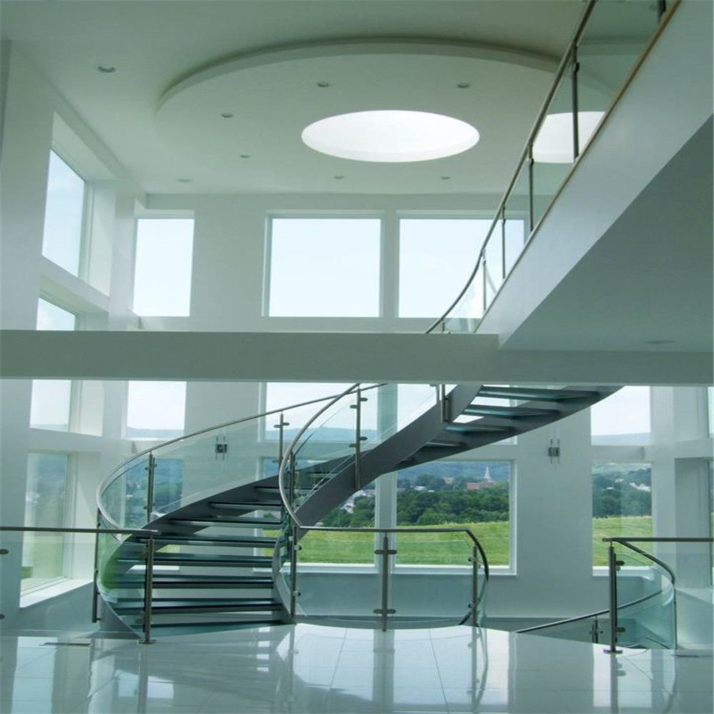 Best Price Curved Glass Staircases With Bent Glass Railing Glass Spiral Staircase 400 x 300