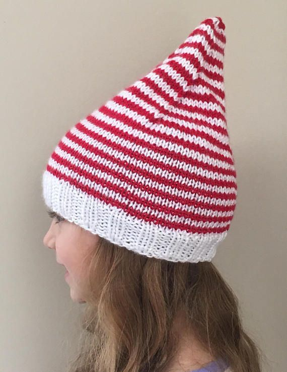 knit elf hat christmas hat red elf hat 3 10 years child elf hat