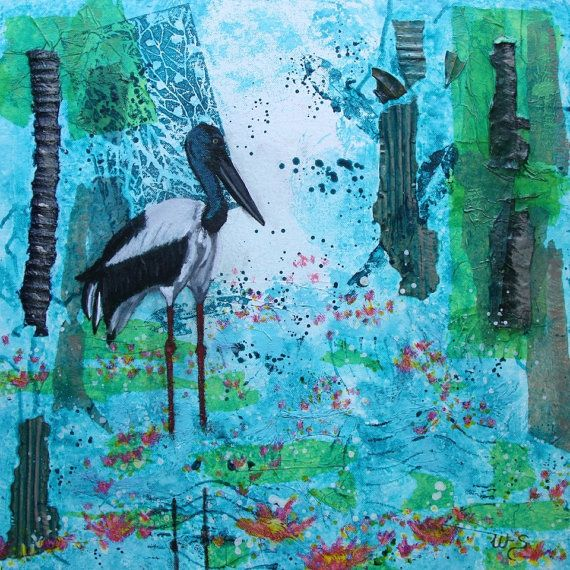 Jabiru Wetlands on Etsy, $150.00 AUD | Art and Artists | Painting, Mixed media painting, Art
