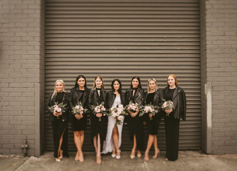 All Black Everything Minimal Bridesmaids Dresses With Leather Jackets Millwick Wedding Venue Los Wedding Locations California Edgy Wedding Morning Wedding [ 1085 x 1500 Pixel ]