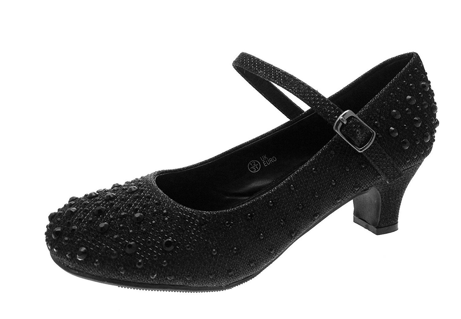 97ccb2a2136 Kids Girls Mary Jane Party Shoes Diamante Glitter Bridesmaids Low ...