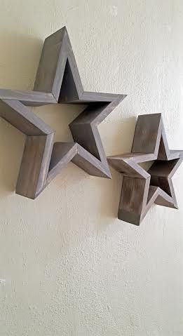 Rustic Milled Log Wood Star Wall Decor
