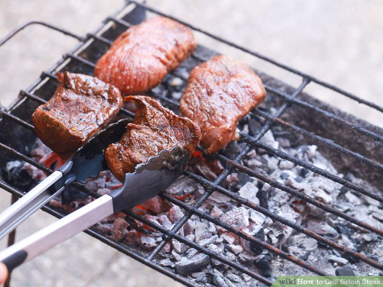 Grill sirloin steak cooking steak on grill grilled