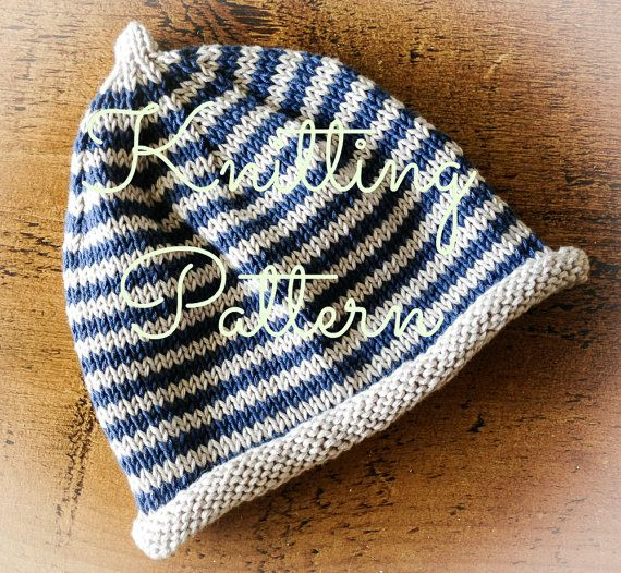 Knitting Pattern - Cotton Stripey Baby Beanie Hat - Debbie Bliss Eco Baby -  Instant Download via Etsy 88395e1c046