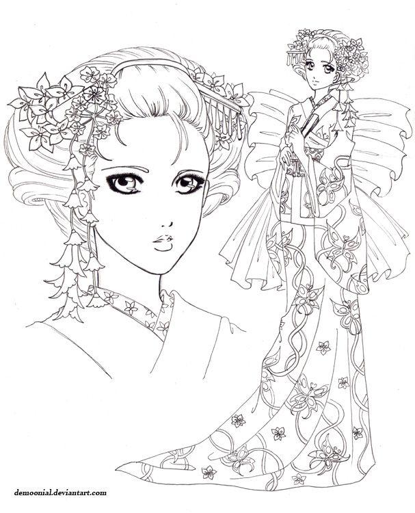 Coloriage Adulte Geisha.Geisha Cherry Blossom Coloring Pages Memorias De Una
