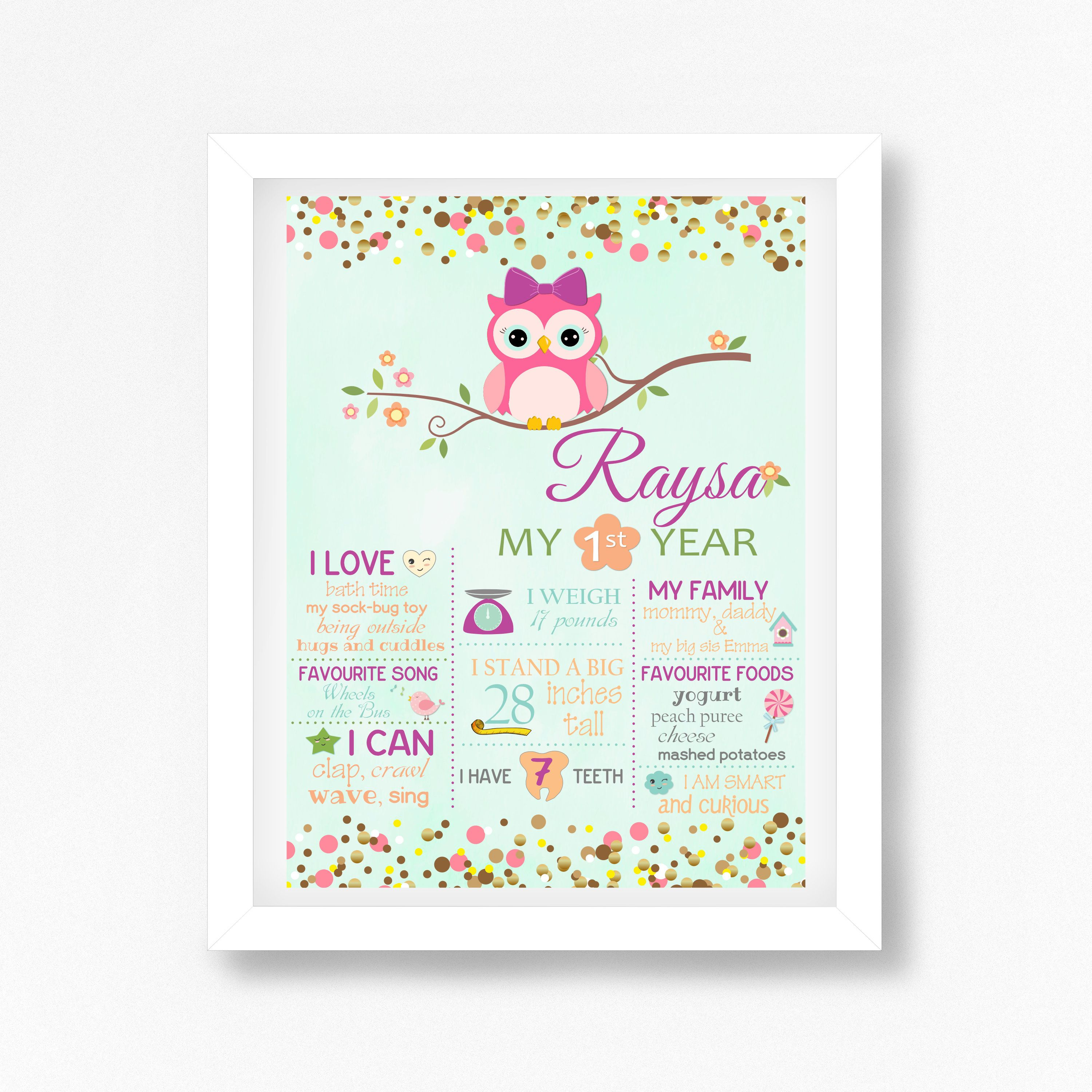 Pink Owl First Birthday Milestone Poster, Owl Wall
