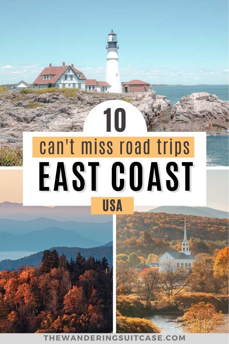 Can't miss East Coast USA road trips. East Coast vacation getaways. Road trip the USA. Road trips covering New England, Boston, Acadia National Park, Maine, Virginia, Florida, Miami, North Carolina, South Carolina.